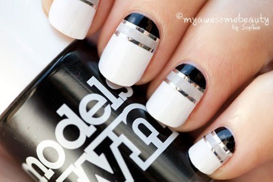 black silver stripes white nails