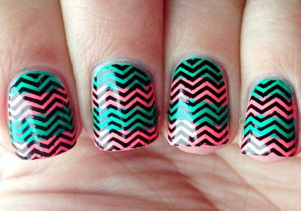black stamped chevron neon striped nails