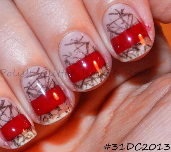 black stamped red striped fashion inspired nails