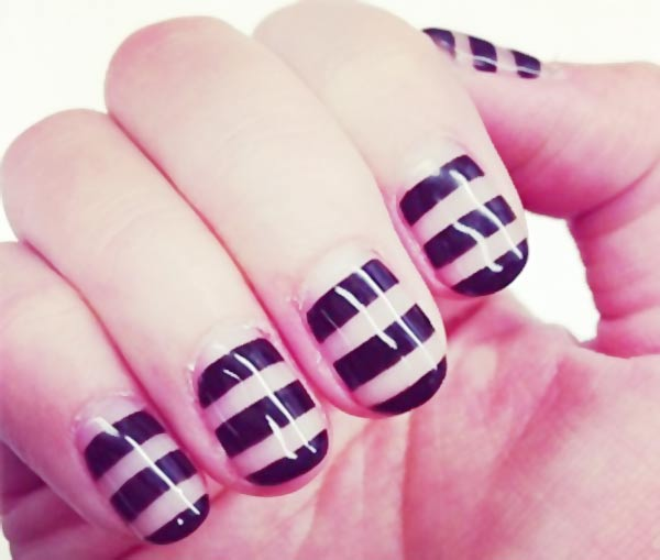 black stripes over transparent nails
