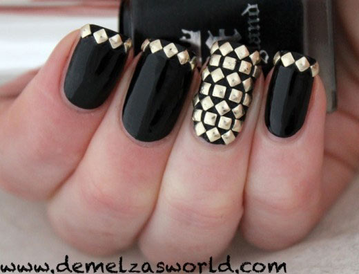 black studded edgy nails