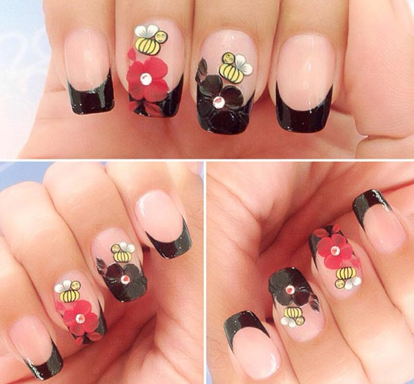 black tipped flowers french nails