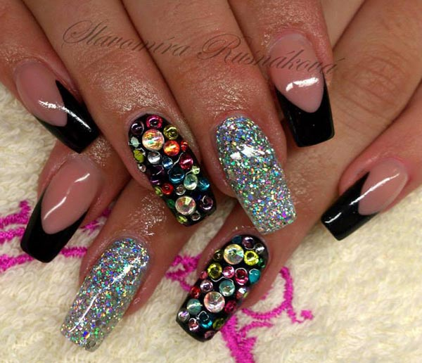 black tipped silver glitter rhinestones nails