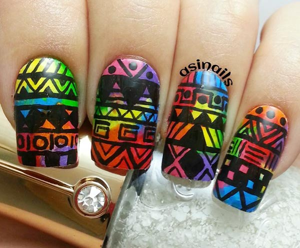 black tribal freehand rainbow gradient nails