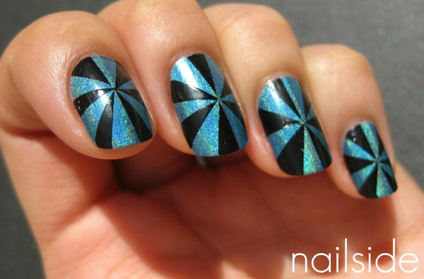 black turquoise pinwheel nails