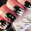 black white 3D music nail art nails
