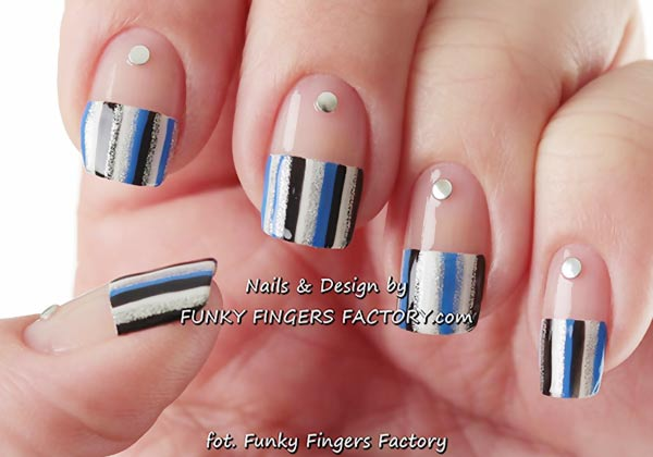 black white blue silver striped french nails