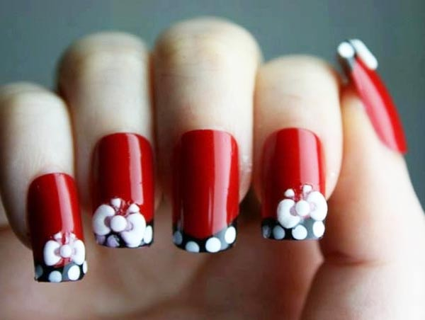 black white dotted bow red nails