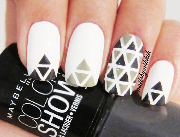 black white grey geometry nails