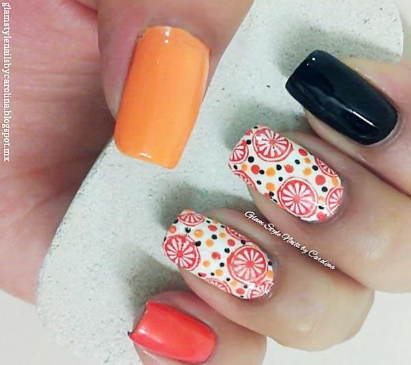 black white orange slices dots accent nails