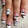 black white skellington french halloween nails
