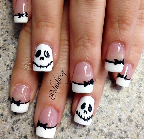 black white skellington french halloween nails