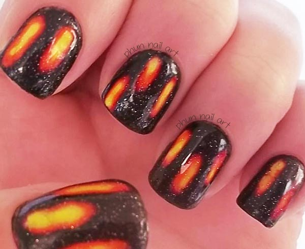 black yellow orange layered halloween nails