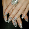 black and white cheetah silver glitter fancy nails