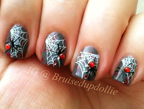 blood splatter web spider beads halloween nails