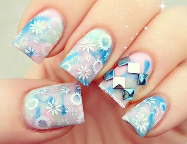 blue beige studded flowers stamped nails