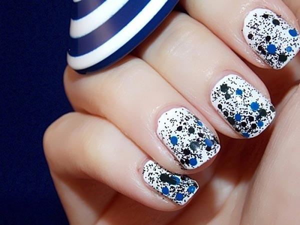 blue black dots glitter on white nails