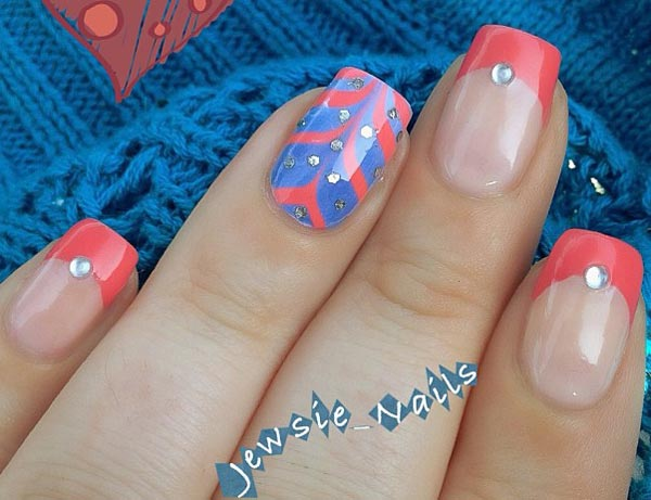 blue coral marbled coral french summer nails