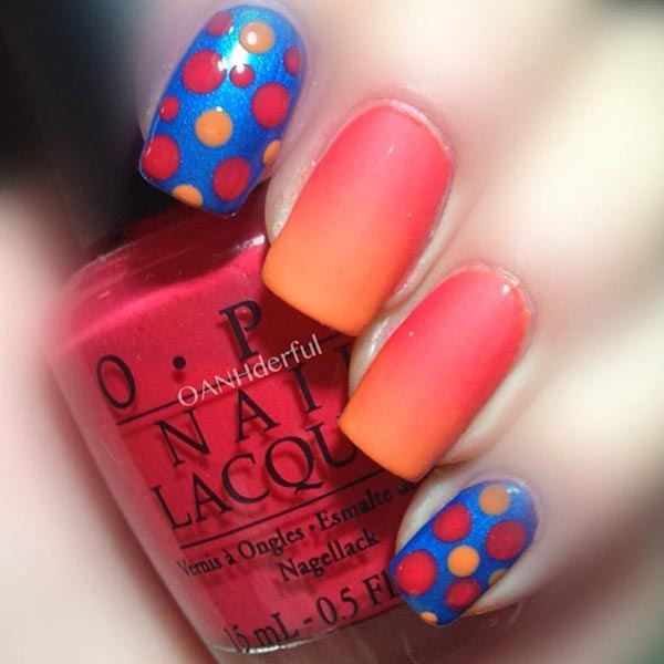 blue coral gradient dotted nails