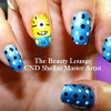 blue dotted despicable me minions nails