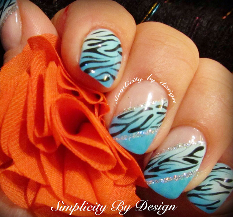 blue french zebra accent gradient summer nails