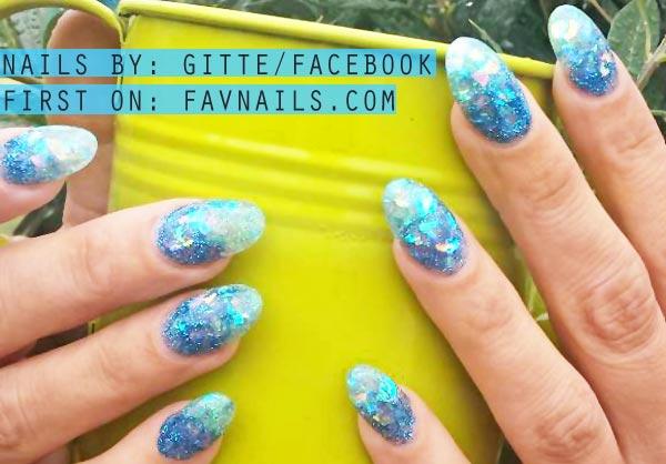 blue glitter gradient summer nails