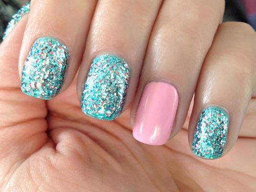 blue glitter pink nails