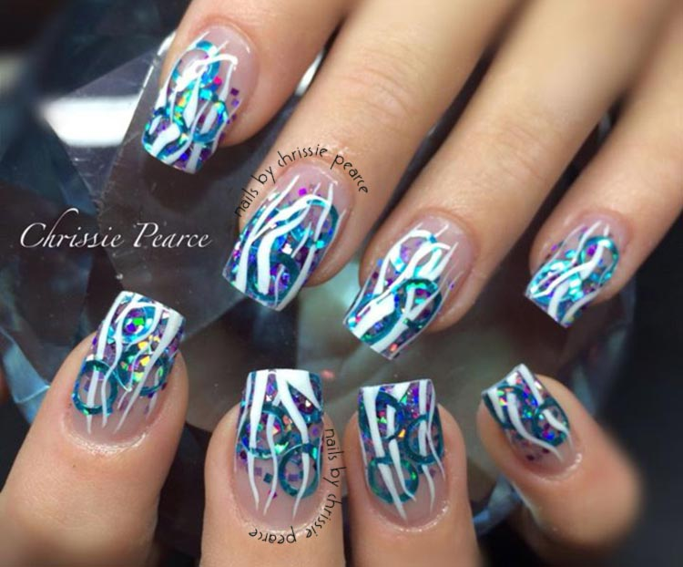 blue glitter white strands long nails