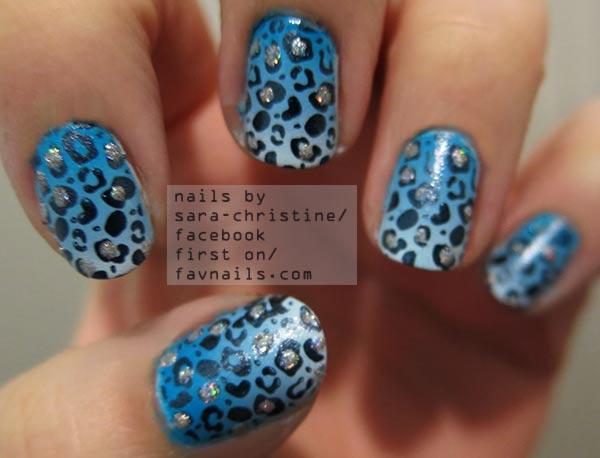 blue gradient black cheetah freehand nails