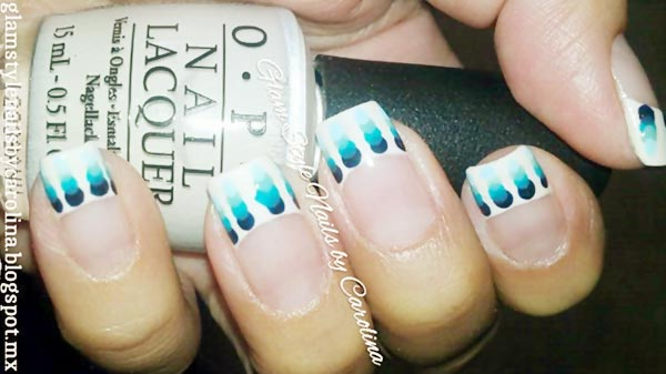 blue gradient dots french nails
