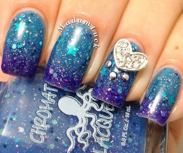 blue gradient glitter summer beach nails
