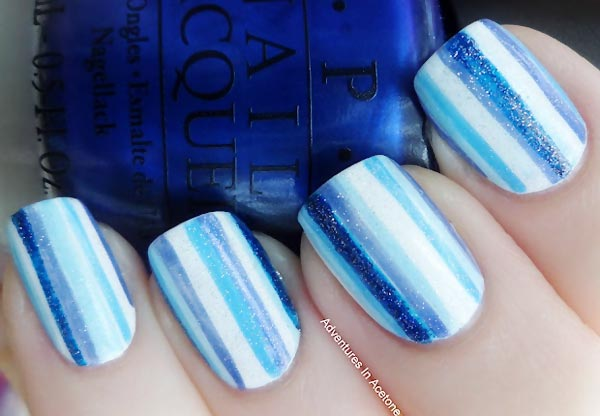 blue gradient stripes freehand nails