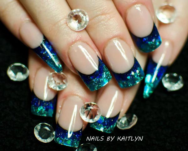 blue green gradient french nails