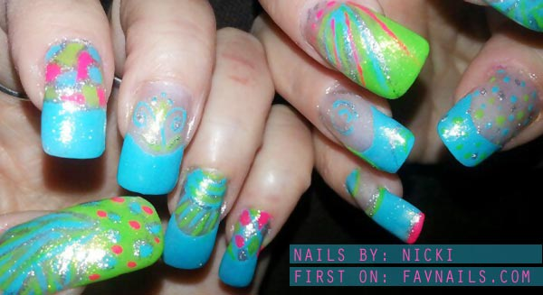 blue green spring french neon nails