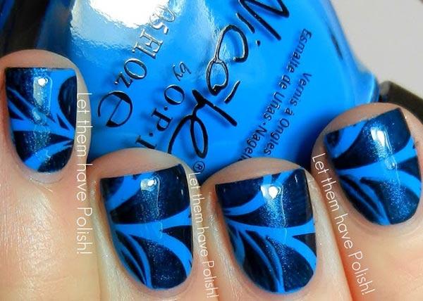 blue marbled short nails