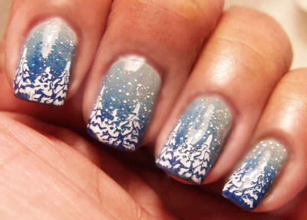 blue ombre trees snow nails