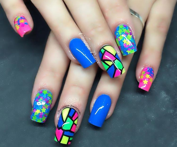 blue pink yellow mosaic stars fun nails