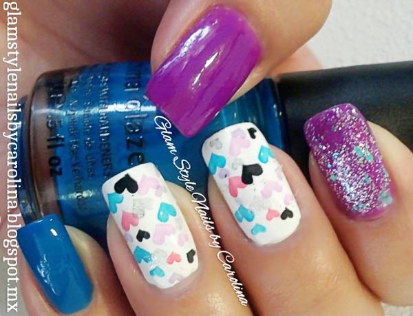 blue purple glitter stamped hearts nails