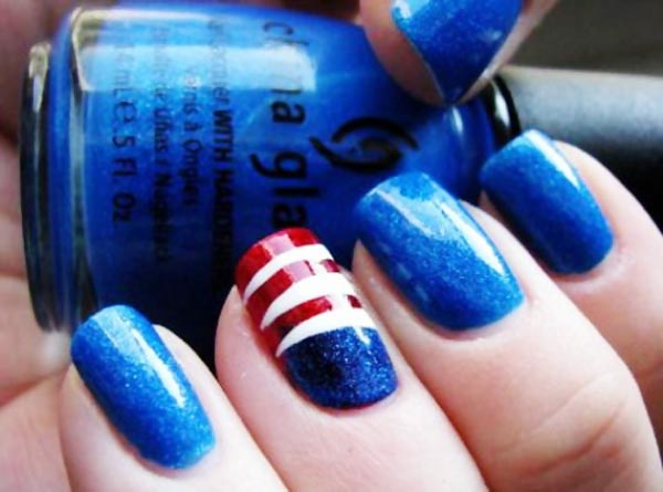 blue red white 4th of july nails