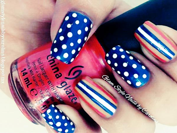 blue red white striped dotted nails