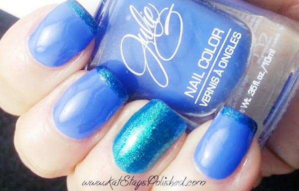 cobalt blue shimmer accent french nails