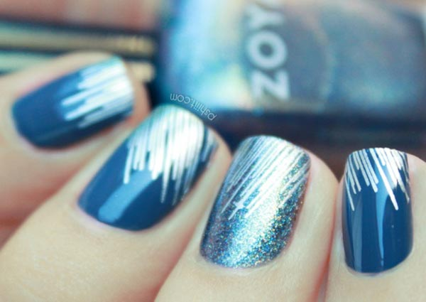 silver glitter blue striped nails