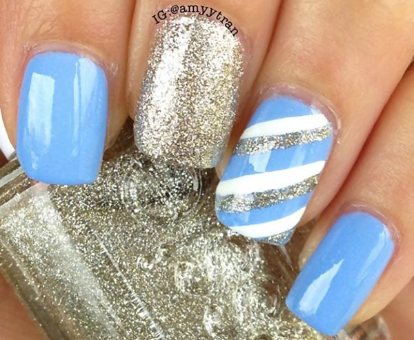 blue silver white stripes blue nails