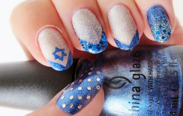 blue tips silver glitter french nails