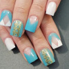 blue white french gold details nails