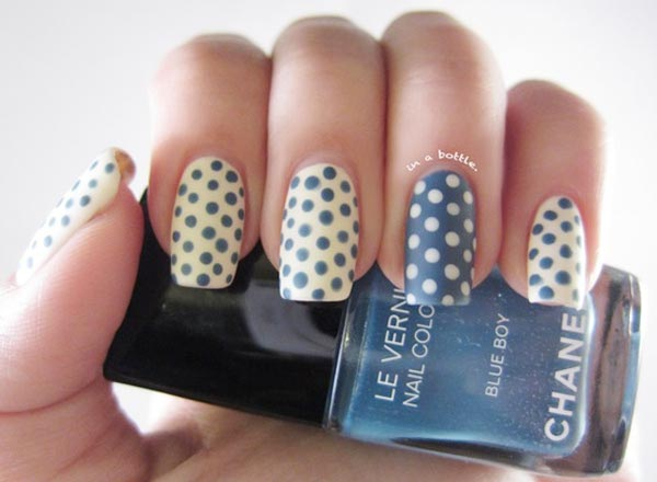 blue white polka dots matte nails