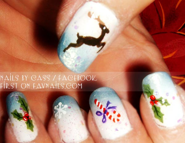 blue white reindeer candy christmas gradient nails