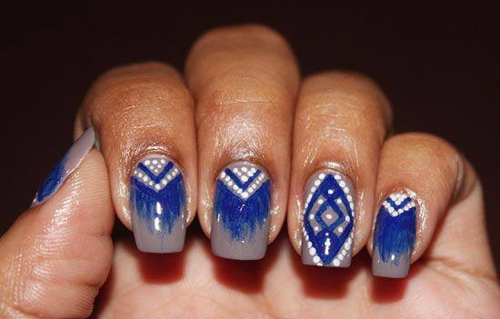 blue white tribals nails