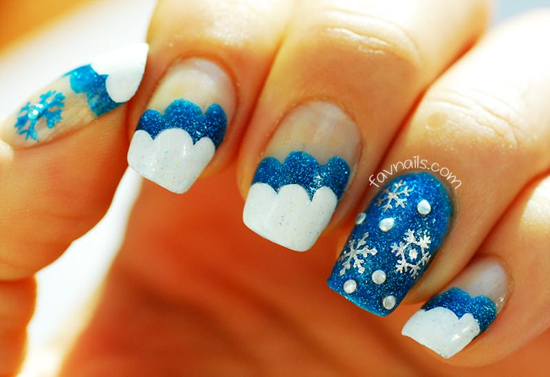 blue white wavy glitter snowflakes winter nails