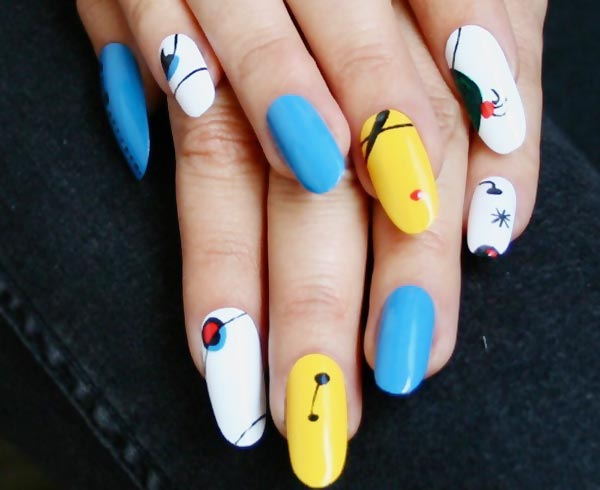 blue white yellow artistic nails